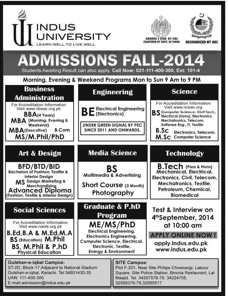 indus university admission 2014 Indus College Karachi Intermediate Admissions 2014