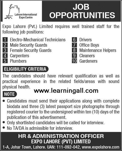Expo Center Lahore Jobs 2013