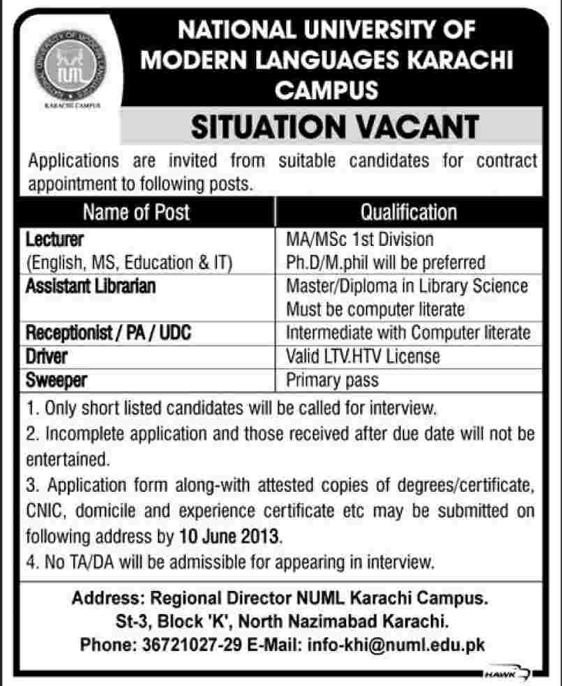 www numl edu pk jobs Karachi Sindh Pakistan June 2013