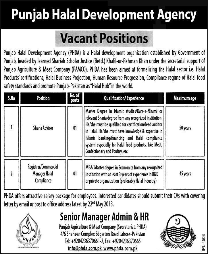 Punjab Halal Development Agency Vacant Positions 2016