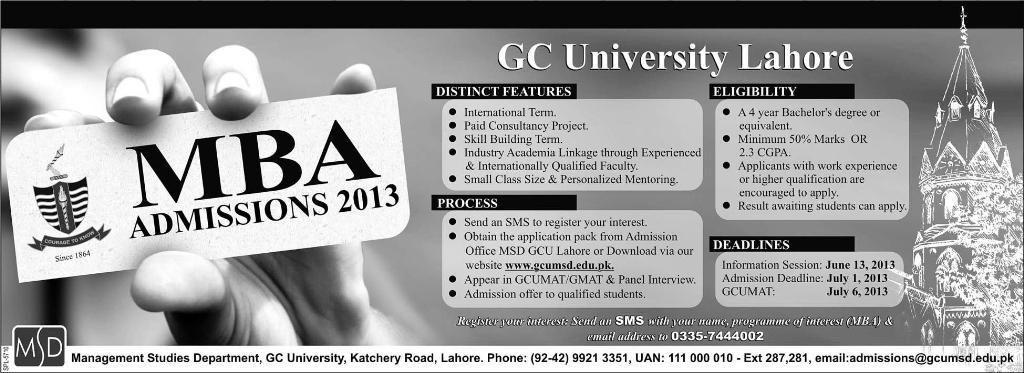 GC University Lahore Starts MBA Admissions 2013