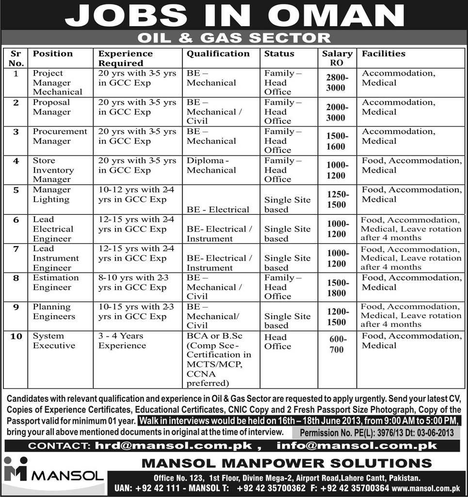 jobs in oman oil and gas sector for pakistan 2015