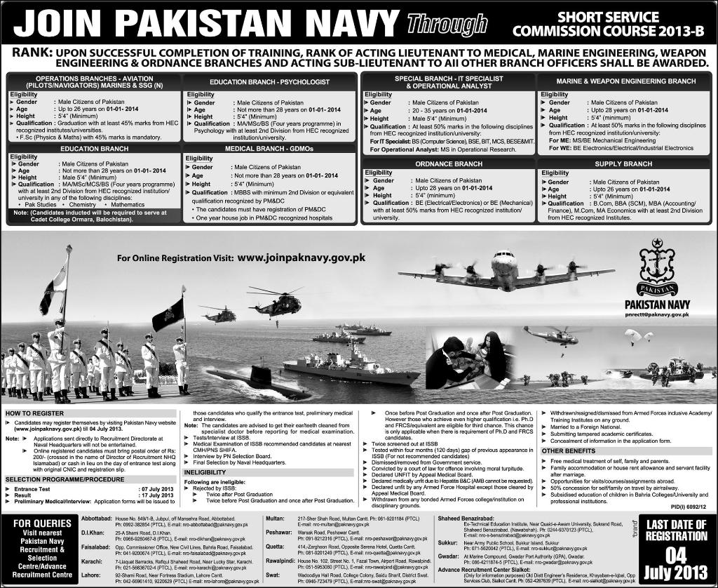 Joinpaknavy July 2013 Join Pakistan Navy Job as Sailors C 2013 S