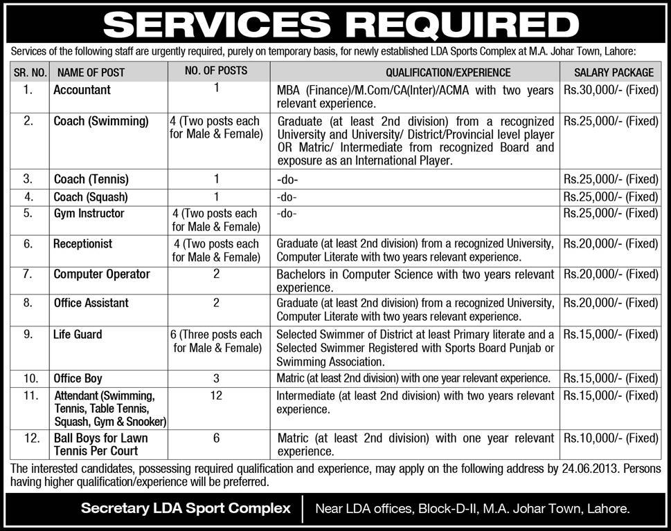 LDA Sports Complex Lahore Jobs Opportunities