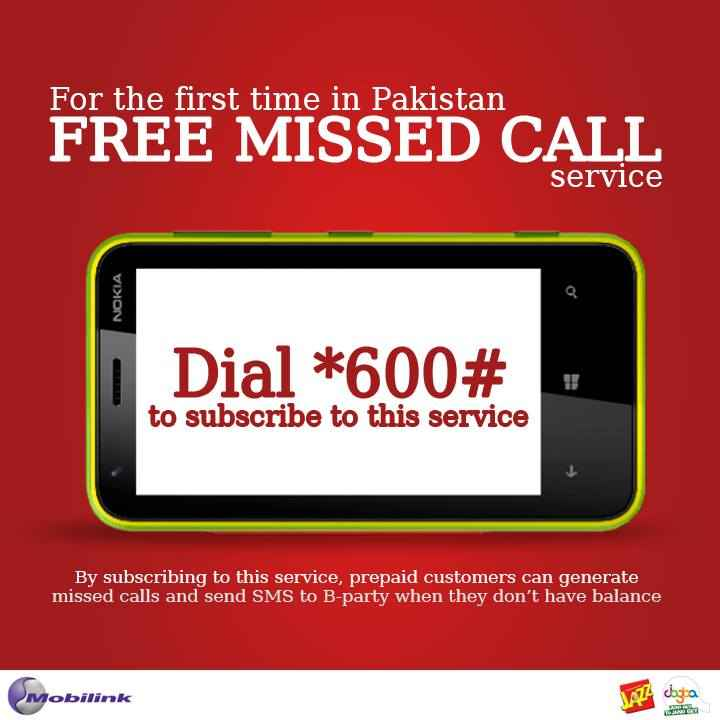 Mobilink Introduce Free Missed Call and SMS service