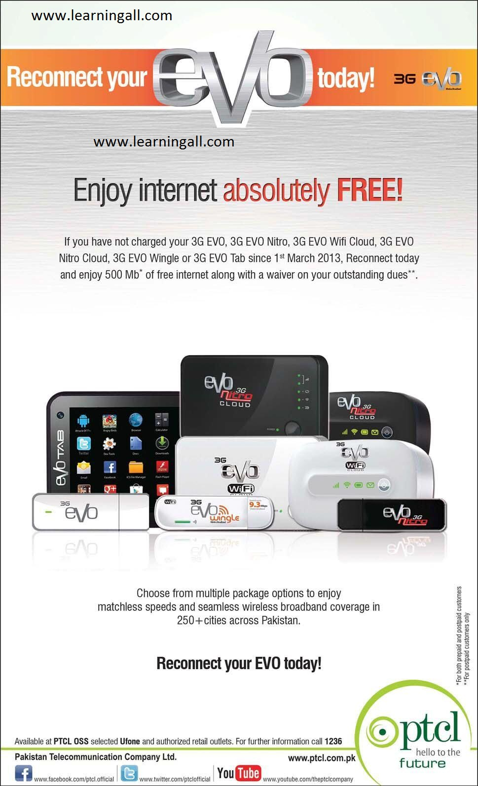 PTCL Evo Device Reconnect offer Reconnect PTCL Evo Enjoy 500 MB Internet Absolutely Free