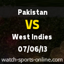 Pakistan vs West Indies Cricket Live Streaming Match 07 June 2013