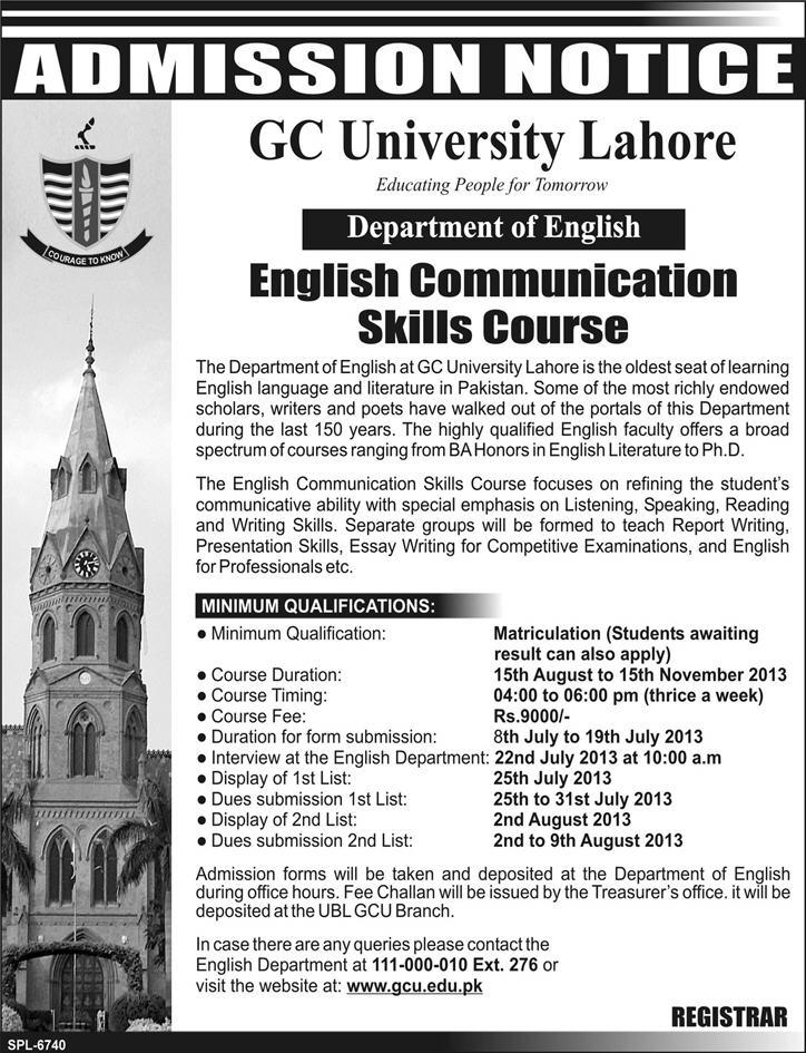 GC University Admission July 2013 English Communication Skills Course in Lahore