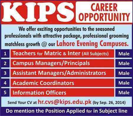 Kips School Jobs 2014 KIPS School Johar Town & Iqbal Town Lahore Admissions 2015