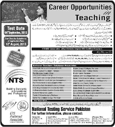 NTS Teaching Jobs NTS Test Career Opportunities for Teaching Staff