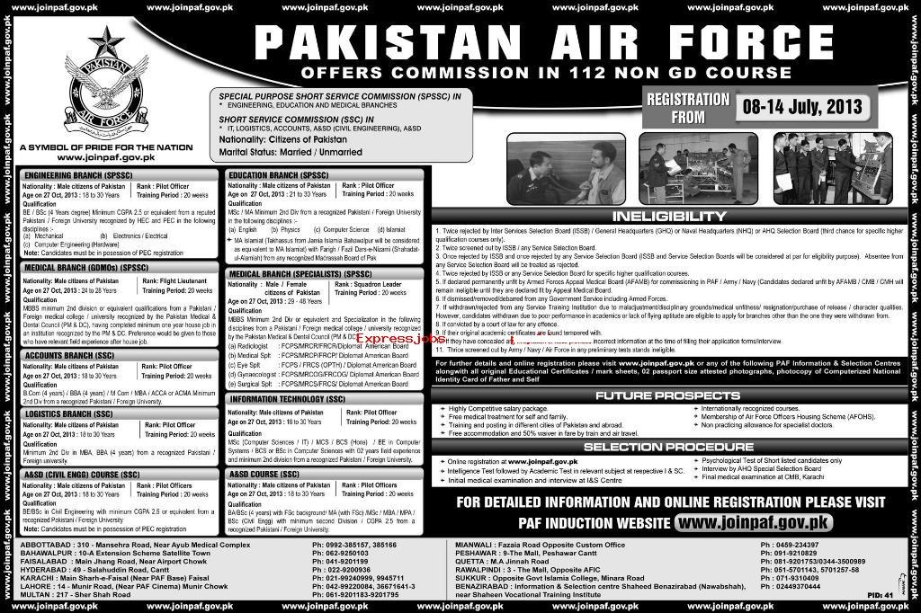 PAF 112 Non DG course july 2013 Pakistan Air force PAF Commission in 112 NON GD COURSE