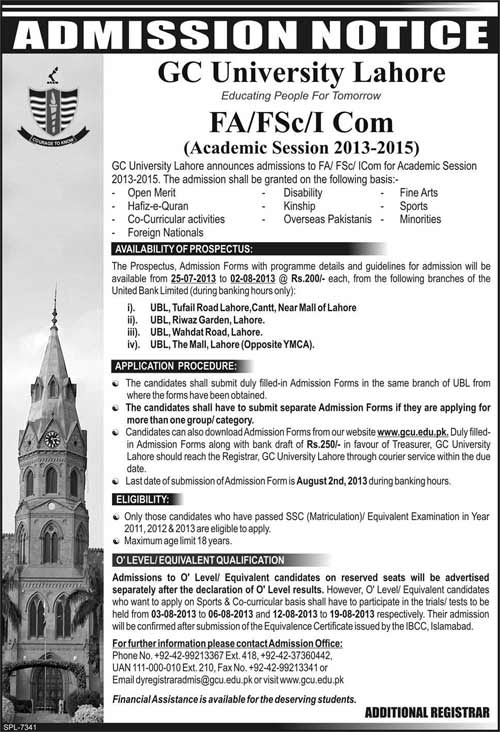 Admissions in 1st Year at GC University Lahore 2016