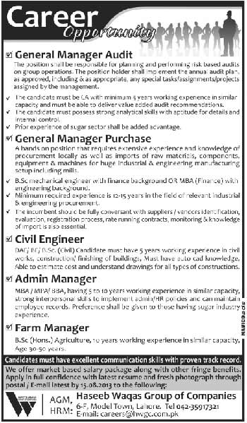 Haseeb Waqas Group of Companies Jobs Haseeb Waqas Group of Companies Jobs