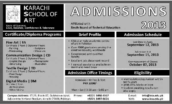 Karachi School of Art Admission Open 2015