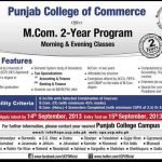 Punjab College of Commerce Admission M.com 2 Years Program