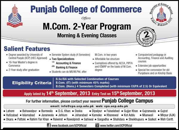 m.com admissions Punjab College of Commerce Admission M.com 2 Years Program