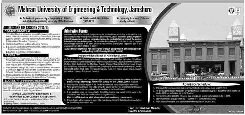 mehran university admissions 2014 500x234 Admissions in Mehran University of Engineering Jamshoro