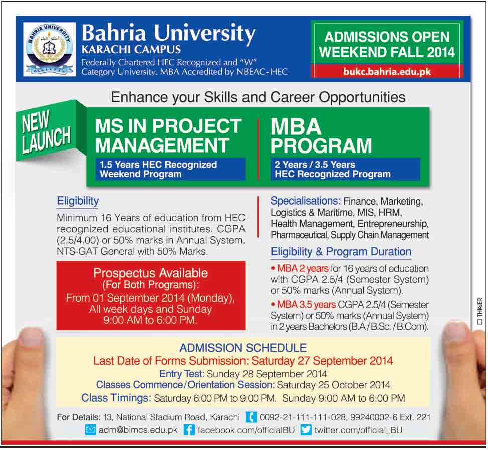 Bahria University Admissons 2014 Bahria College Karachi Admission Open 2015