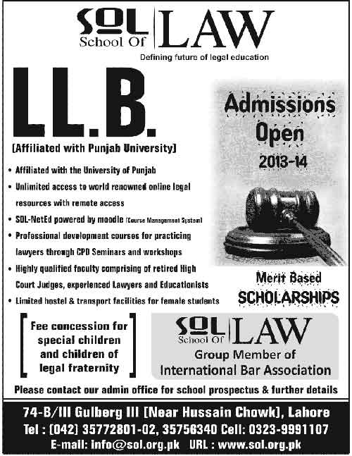 SOL School of Law Lahore LLB Admission 2018 Form Result
