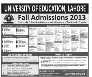 University of Eduction Lahore Admissions 2013