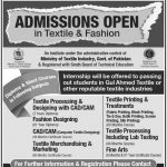 Pakistan Bedwear Institute Admission in Textile, Fashion Graphics