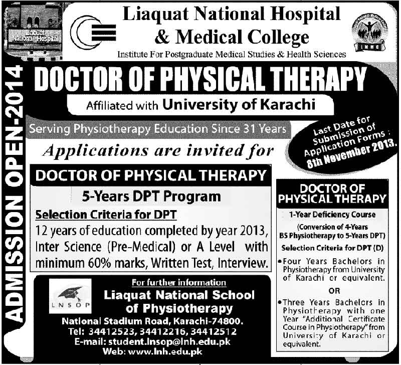 Doctor of physical Therapy Admission in Liaquat College