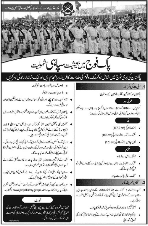 Join Pakistan Army as Soldier 2014