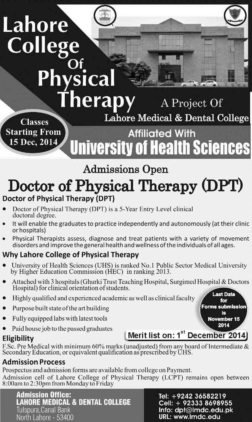 Lahore Medical Admisison in DPT 2014 UHS MBBS / BDS 2nd Merit List 2015