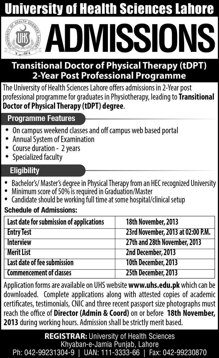 transitional doctor of physical therapy admissions in uhs dear candidates submit your admission forms required documents to hr department on or before dated 18 2017