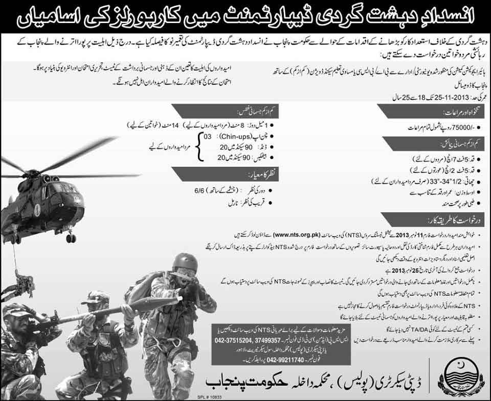 Jobs in Anti Terrorism Force Jobs in Anti Terrorism Force Department Punjab Pakistan