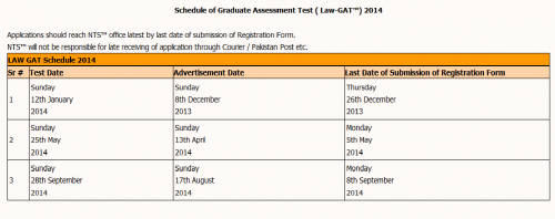 NTS GAT General Graduate Assessment Test Schedule 2017