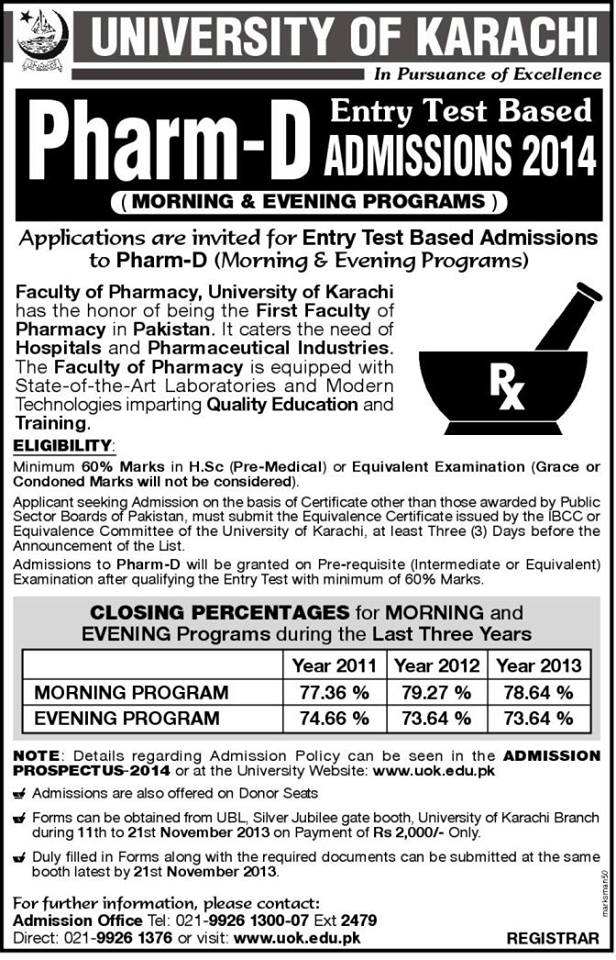 Pharm D admissions in Karachi University