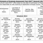NTS GAT General Graduate Assessment Test Schedule 2014