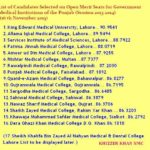 UHS MCAT 1st Merit List 2016 For MBBS Candidates