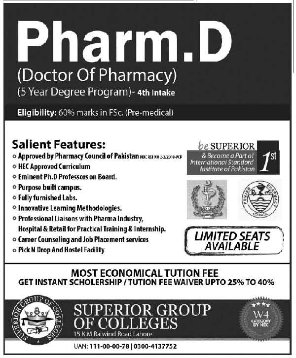 Pharm D Admissions In Superior Group Of Colleges