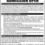 PhD Energy Msc Coal Engineering Technology Admissions in UET