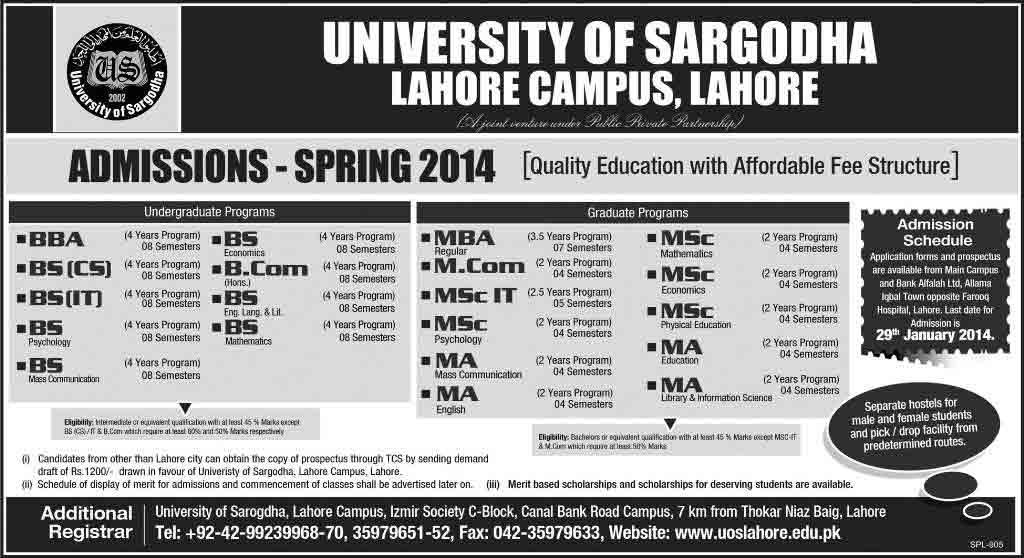 University of Sargodha Admission 2014 University of Sargodha Lahore Campus Spring Admissions 2013