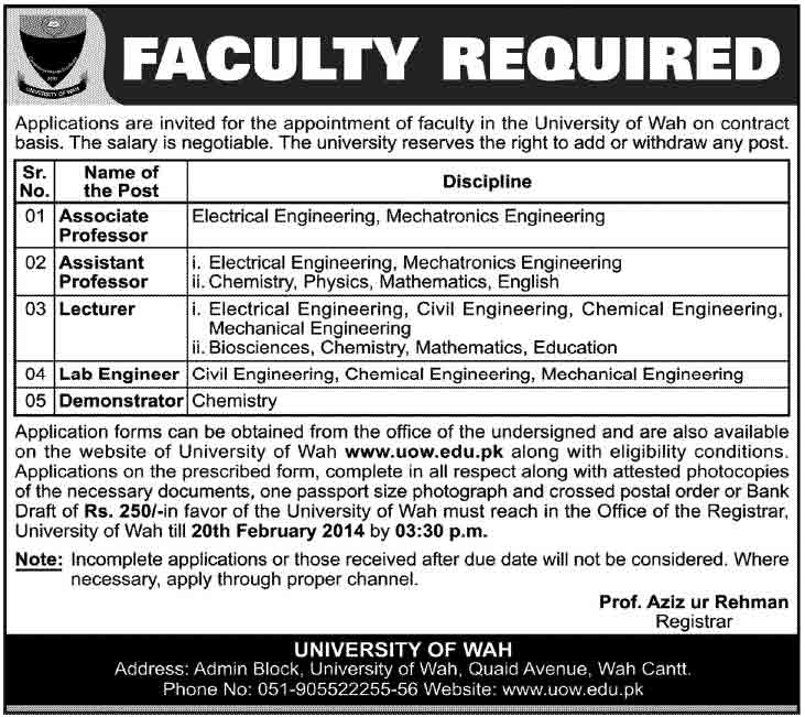 University of Wah Jobs 2014 Foundation University Islamabad Medical Faculty Required