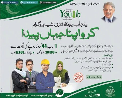 shahbaz sharif youth internship 500x402 Shahbaz Sharif Punjab Youth Internship Program 2016