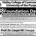 Revised Schedule 88th Foundation Day 2014 of Hailey College