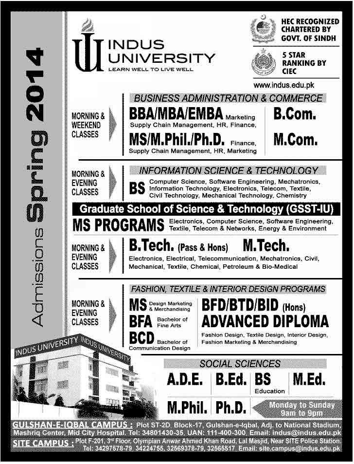 Karachi Admissions 2014 Indus College Karachi Intermediate Admissions 2014