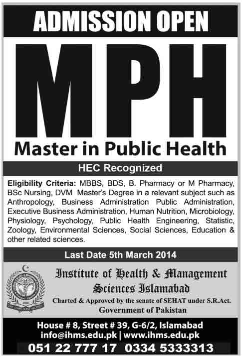 IHMS Islamabad Admission Open in Master in Public Health