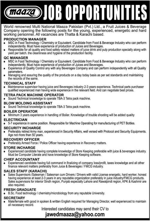 Maaza-Juice-Jobs-Feb-2014