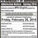 University of Sargodha Revised Admission Schedule for M Phil