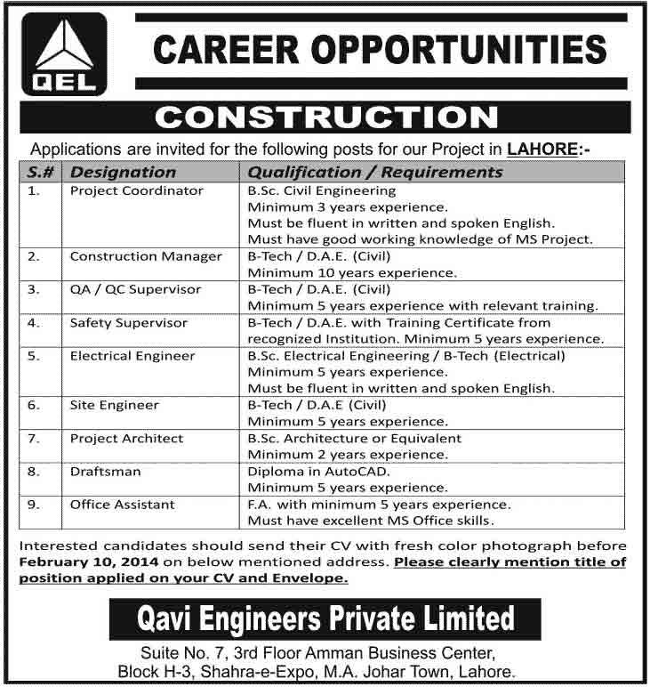 Qavi Engineering Jobs Feb 2014 Qavi Engineers pvt Ltd QEL Construction Jobs 2015