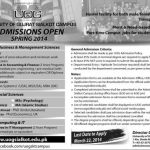 Admissions Open in University of Gujrat Sialkot campus