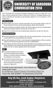 University of Sargodha UOS Convocation Registration 2015