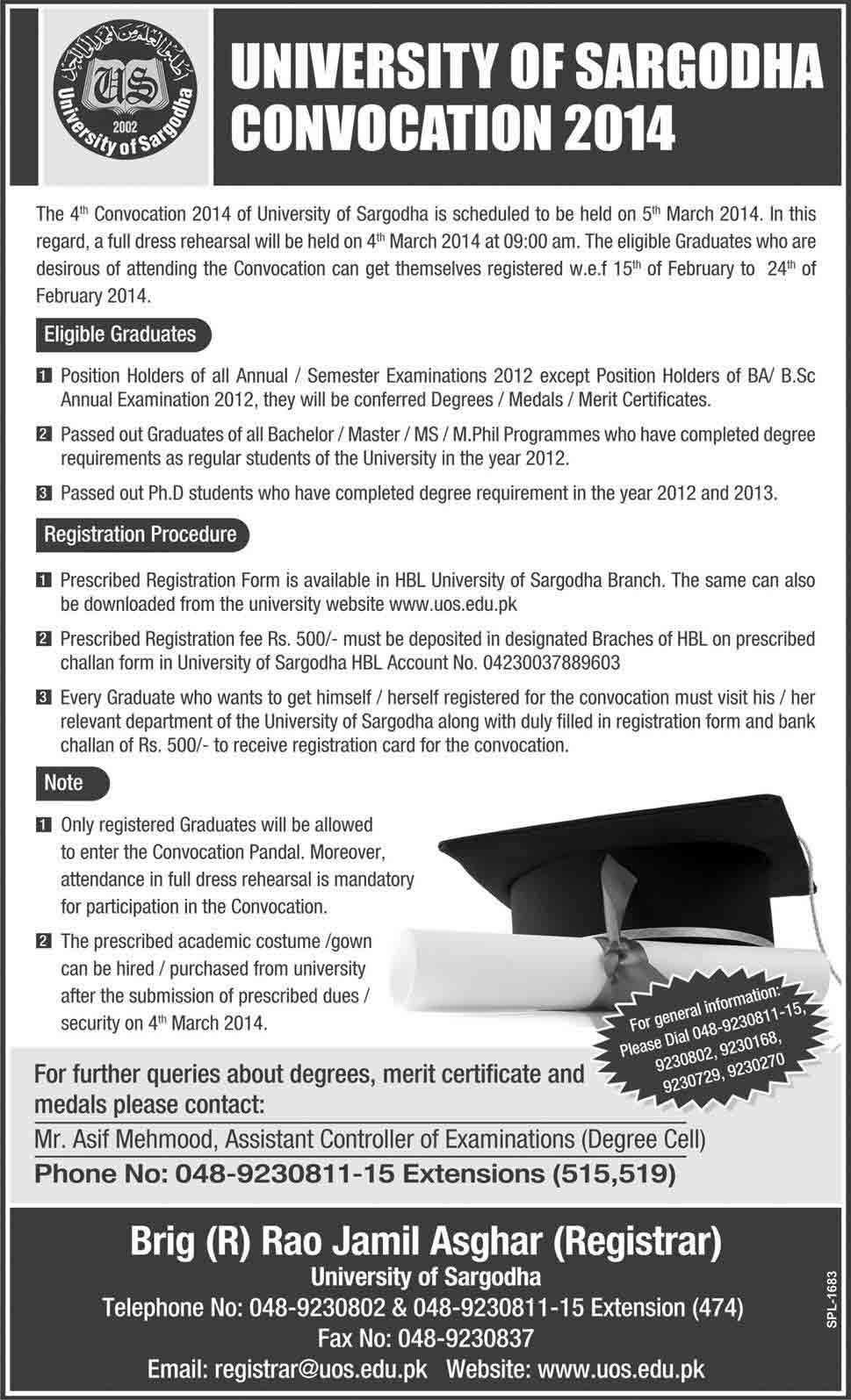 UOS Convocation 2014 GC University Lahore Convocation 2014