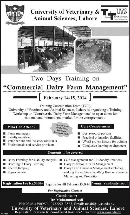 UVAS Lahore Training Commercial Dairy Farm Management 2018