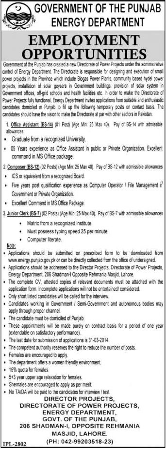 jobs-in-energy-department-lahore